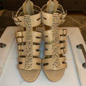 Cynthia Vincent Jett Wood Wedge Sandal 8